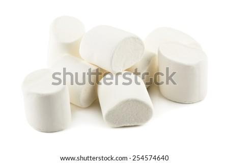 heap of marshmallow on white background - stock photo