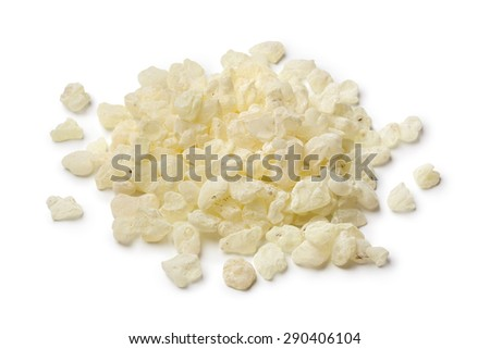 Heap of mastic tears of Chios on white background - stock photo
