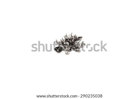 Heap of Metal Pushpin or Drawing Pin isolated on white background - stock photo