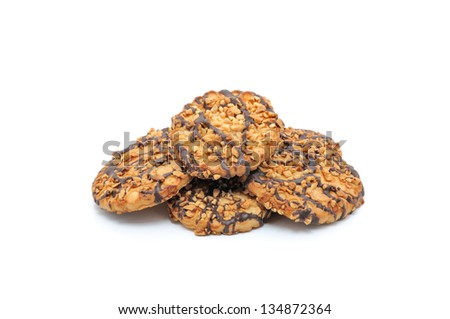 Heap of mixed Cookies isolated on white background - stock photo