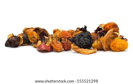 Heap of Mixed Dried Fruits of Apricots, apples, raisins and cranberries. - stock photo