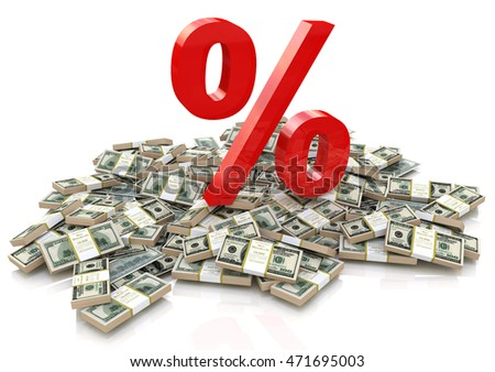heap of money and sign percentage in the design of information related to finance and business. 3d illustration