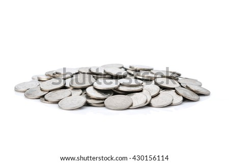 Heap of  Money coins isolated on white background - stock photo