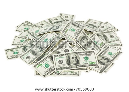 Heap of money isolated on white background
