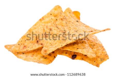Heap of Nachos on white background - stock photo