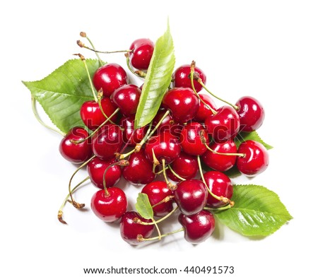 Heap of of Ripe Cherries on a White Background