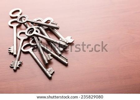Heap of old keys - stock photo