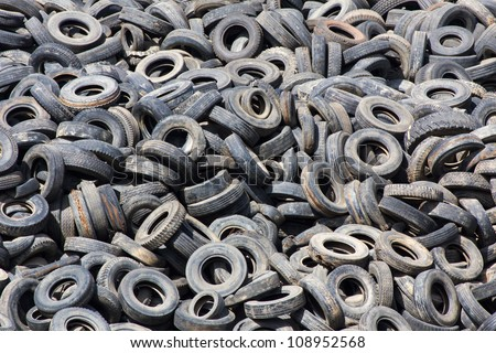 Heap of old Tires  in recycling plant in Thailand