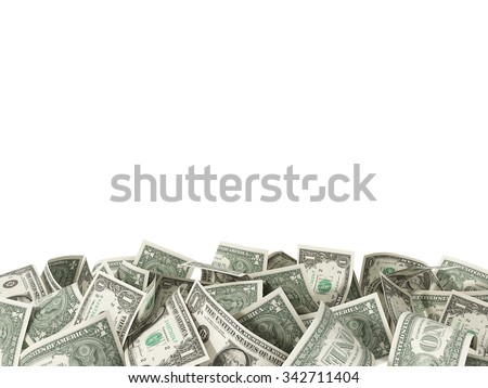 Heap of one Dollar Bills isolated on white background with place for your text - stock photo