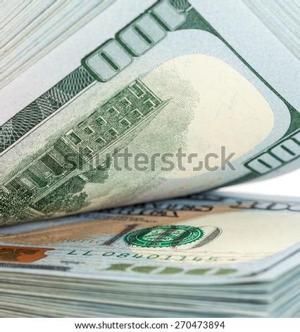 Heap of one hundred dollar bills close up - stock photo