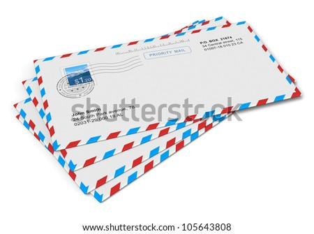Heap of paper mail letters isolated on white background - stock photo