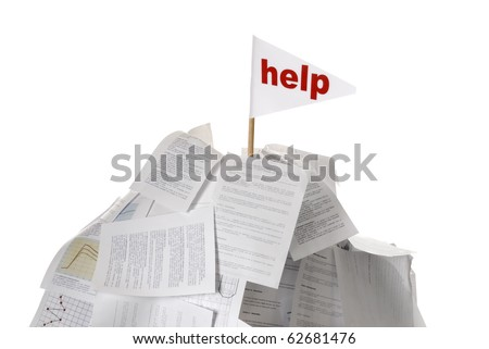 heap of papers with help flag sticking out on white background - stock photo