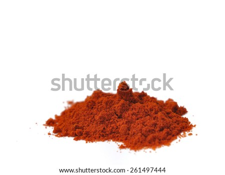 heap of paprika powder isolated on white background - stock photo