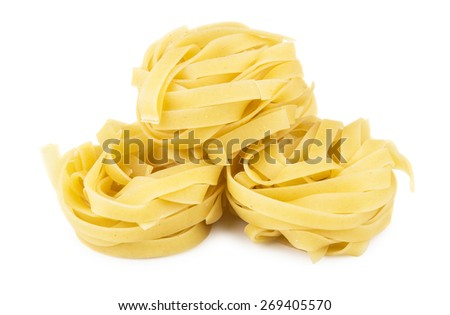 Heap of pasta in form nest isolated on white background