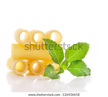 Heap of pasta on white background - stock photo