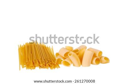 heap of pasta on white background - stock photo