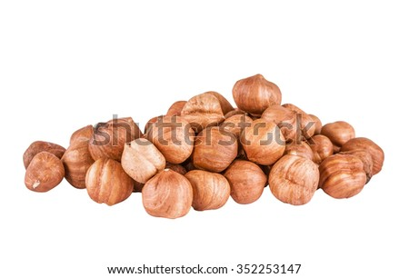 Heap of peeled filbert isolated on white background