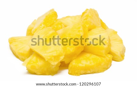 Heap of pineapple chunks isolated on white