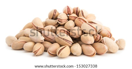 Heap of pistachio isolated on white background - stock photo