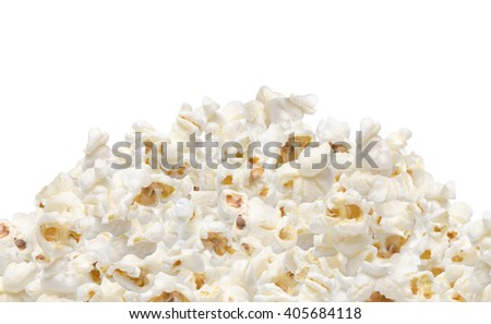 Heap of popcorn isolated on white background - stock photo