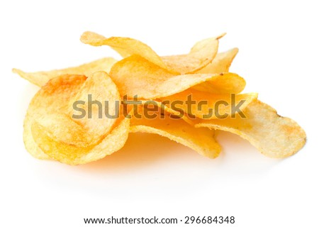 heap of potato chips isolated on white background - stock photo