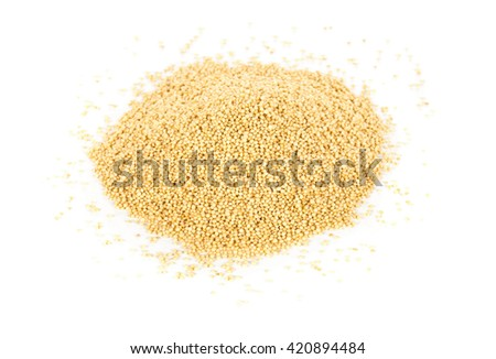 Heap of raw, uncooked amaranth seeds over white background
