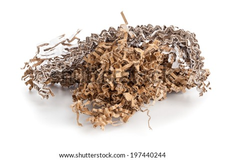Heap of Recycled carton packaging material over white background - stock photo