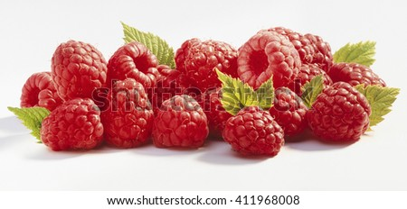 Heap of red and ripe raspberry, isolated, on white background - stock photo