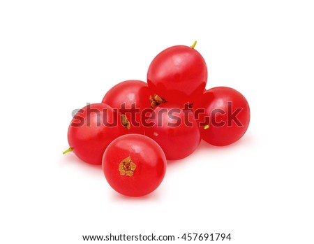 Heap of red currant isolated on a white background. Design element for product label, catalog , web use.