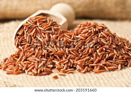 heap of red rice on burlap - stock photo
