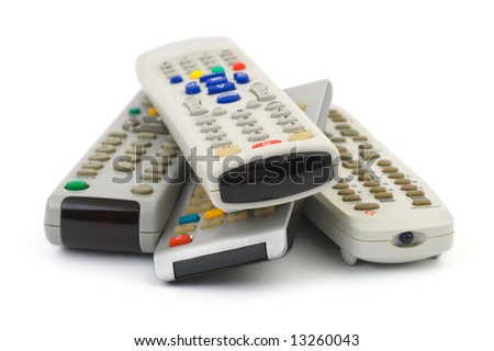 Heap of remote control isolated on white background - stock photo