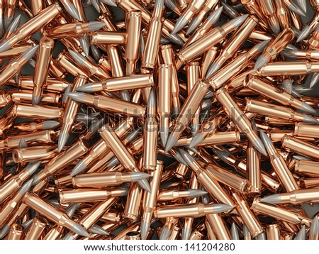 Heap of Rifle Bullets Background - stock photo