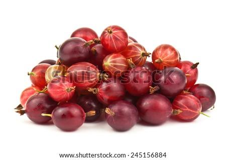 heap of ripe gooseberries on white - stock photo