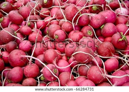 Heap Of Ripe Radish /Turnips At A Street Market In Istanbul, Turkey.  Carsamba Fatih Pazari (Bazaar) - stock photo