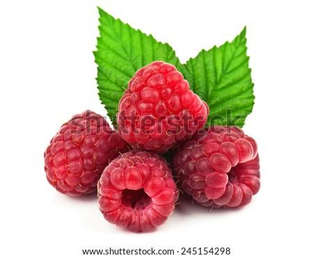 heap of ripe raspberries on white - stock photo