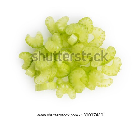 heap of sliced celery, isolated on white background - stock photo