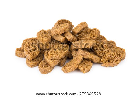 Heap of small rusks with salt, black bread isolated on white background