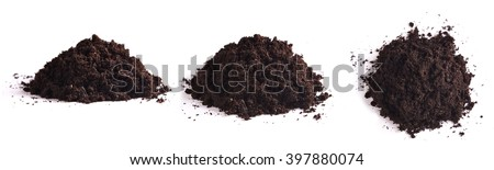 heap of soil isolated on white background. three types of view