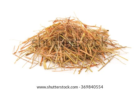 Heap of straw isolated on white - stock photo