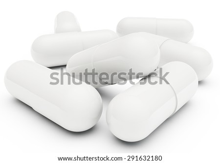 heap of tablets for treatment of different diseases with a gelatinous cover - stock photo