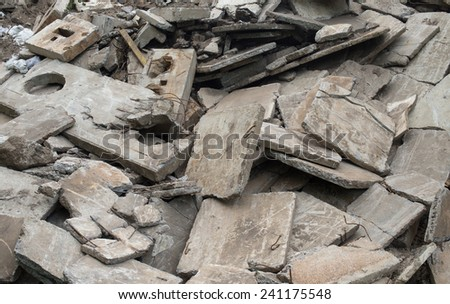 Heap of the damaged concrete blocks. Construction debris. - stock photo