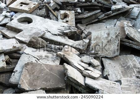 Heap of the damaged concrete blocks. Construction debris. - stock photo