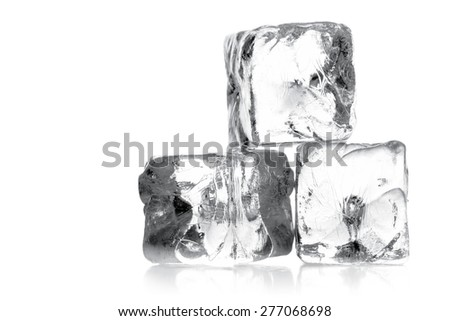 Heap of three ice cubes over white background