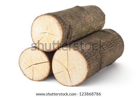 Heap of three logs. Isolated on a white.