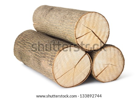 Heap of three logs. Isolated on a white. - stock photo