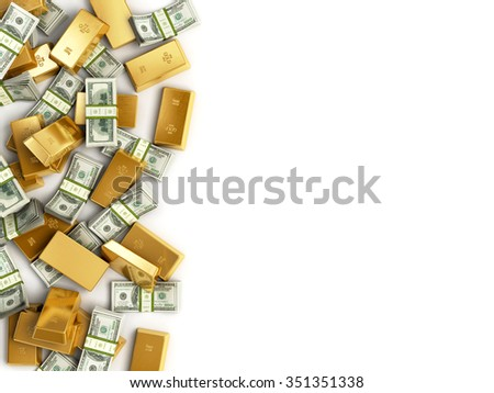Heap of Treasure. Golden Bars and staks of dolar bills  isolated on white background. Business Financial Concept with place for Your Text - stock photo