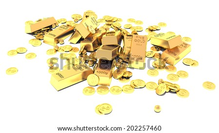 Heap of Treasure. Golden Bars, Coins and Golden Pieces isolated on white background