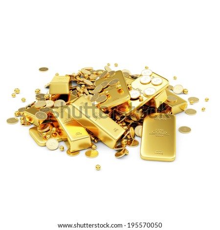 Heap of Treasure. Golden Bars, Coins and Golden Pieces isolated on white background. Business Financial Concept - stock photo