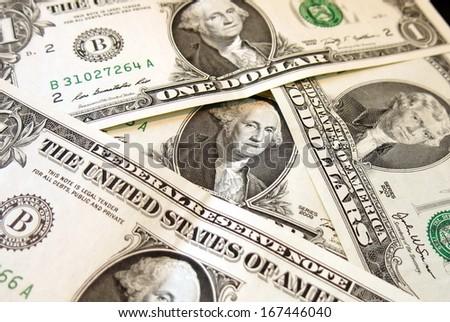 heap of US dollar bank notes - stock photo
