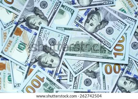 Heap of US dollars close-up - stock photo
